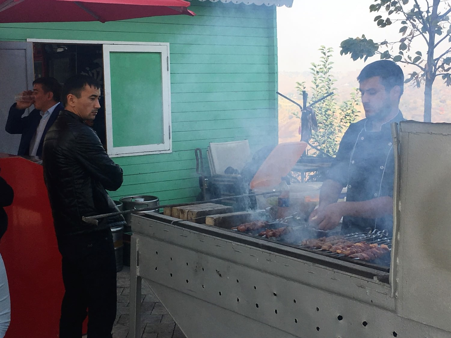 Kazakhstan Tours Group Travel To Koryo Outdoor Underground Electrical Wire Besides Focus Bbq Light Lighting Shashlik Central Asias Signature Food Being Sold On Top Of A Scenic Hill In Almaty
